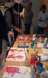 Fadendruck Linoldruck Kunst Workshop